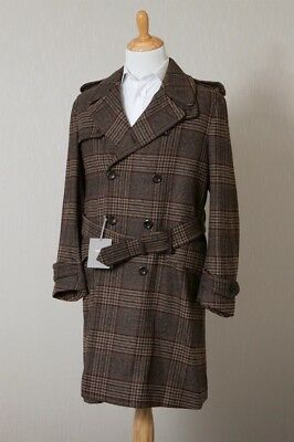 NWT Brown PoW Check Flannel Tom Ford Trench Coat 48R/38R