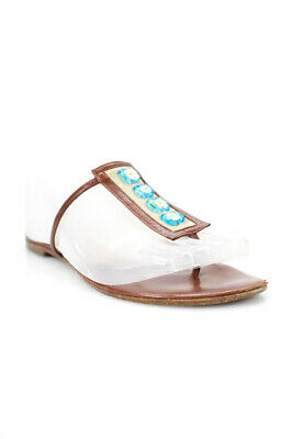 b1513df98b1 Jimmy Choo Brown Leather Floral Beaded Thong Slide On Sandals Size 36 6