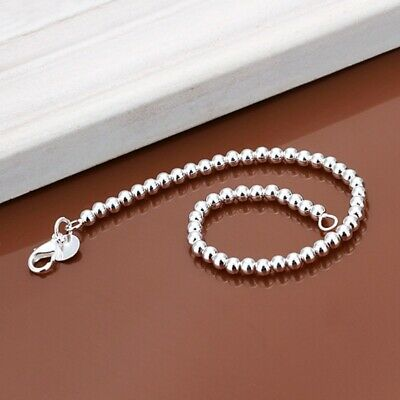 Fashion 925Sterling Solid Silver Jewelry 6MM Ball Bracelet For Women H114
