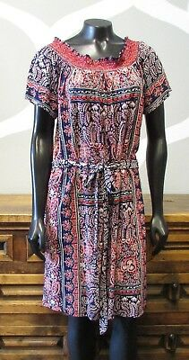 8e61dac7e700 LUCKY BRAND Blue Red Floral Print Belted Viscose Knit Dress - Large - NEW