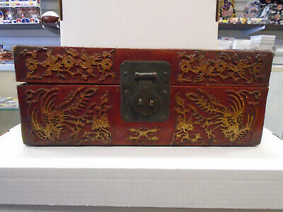 Antique Chinese Red Leather Document/Scholars Box CA 1800's-1900's