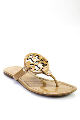 105331591874ca Tory Burch Womens T-Strap Thong Sandals Flats Beige Patent Leather Size 8