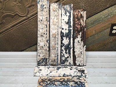 """6pc Lot of 18"""" by 4"""" Antique Ceiling Tin Vintage Reclaimed Salvage Art Craft"""