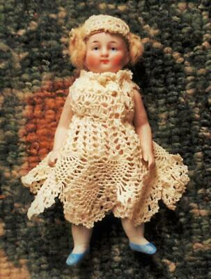 "Antique All Bisque German Doll House Doll 5""  Coiled Braided Hair Crochet Dress"