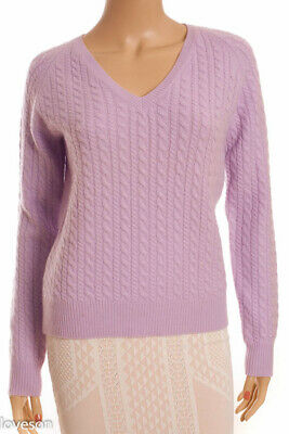 aa3c8c268347b ANN TAYLOR Purple 100% 2-Ply Cashmere Cable Knit V-Neck Pullover Sweater
