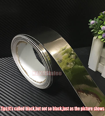 "Bid - 1.2"" x 60"" Black Flat Car Glossy Mirror Chrome Vinyl Wrap Tape Sticker AB"