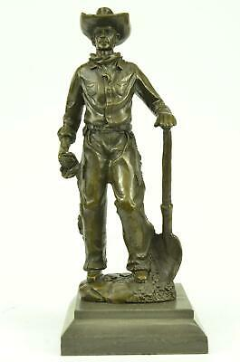 "Western Bronze Sculpture of Cowboy Holding Shovel 12"" x 5"""