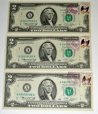 Two Dollar Bill Crisp $2 Uncirculated Consecutive 1976 sequential cancel stamp