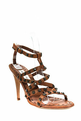 4b8fad649bfe Manolo Blahnik Womens Ibiza Strappy Sandals Brown Studded Leather Size 37