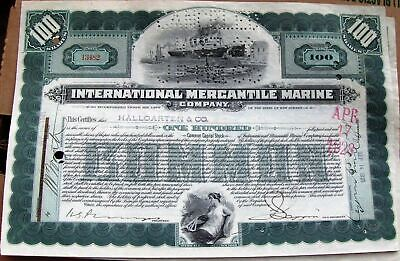 International Mercantile Marine stock certificate signed JP Morgan by agent L1