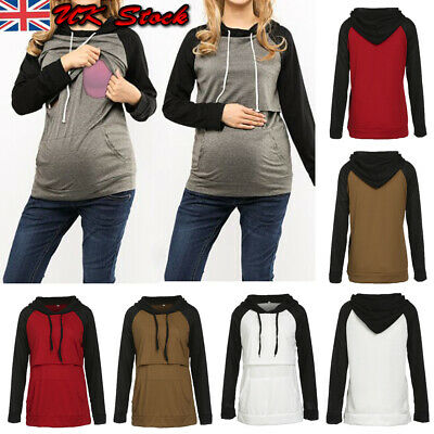 Women Maternity Clothes Breastfeeding Tops Hoodie Pregnancy Nursing Tops Blouse