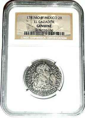 1781 MO FF 2 Reales El Cazador Shipwreck Coin,NGC Certified Excellent Condition