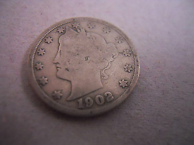 1902 V Nickel Liberty Head, Good Condition, Free Shipping