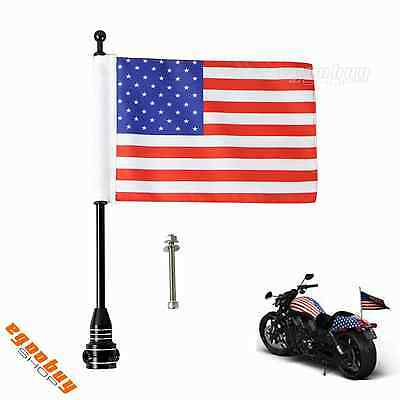 Motorcycle Side Mount Rear Flag USA Flag/ Pirate Flag With Pole For Harley Biker