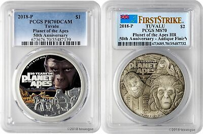2018-P Tuvalu 50 Years Planet of the Apes 9999 Silver 2-Coin Set PCGS PR/MS70