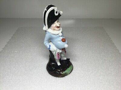 Antique Hunchback Dwarf Jester Harlequin Figurine in Napoleon Bicorn Hat