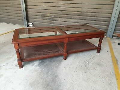 Art nouveau hardwood Coffee Table with Bezelled glass top