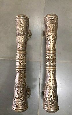 """pair large DOOR handle pulls solid engraved brass vintage aged old style 13 """"B"""
