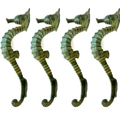 "4 small SEAHORSE solid brass door AGED GREEN old style house PULL handle 10"" B"