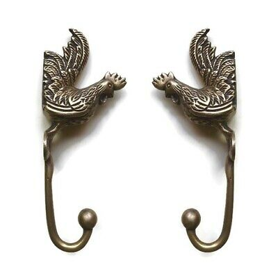 """2 small CHICKEN HOOKS aged solid BRASS old vintage style natural 6.1/2 """" long B"""