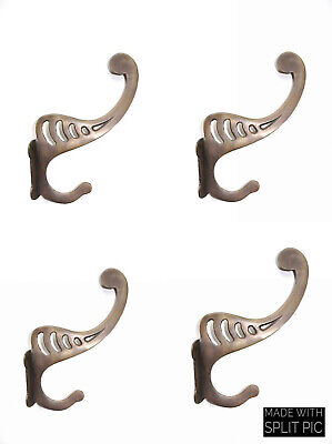 4 large period deco 16 cm COAT HOOKS door solid heavy aged brass furniture B