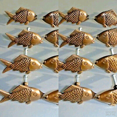 """16 aged ANTIQUE old style FISH Cabinet Door solid Brass KNOB Drawer Pull 2"""" B"""