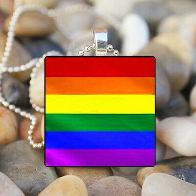 Gay Pride Rainbow Flag Vintage Necklace Pendant Jewelry Charm Gift #FX-261