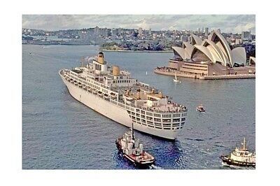 ORIANA  Orient S N Co aerial outbound Sydney 1970s Modern Digital Photo Postcard