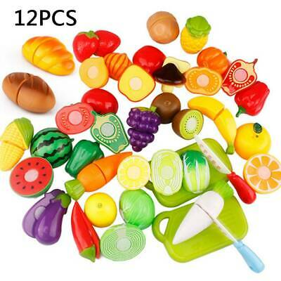 12Pcs Kids Child Pretend Role Play Kitchen Fruit Vegetable Food Toy Cutting Set