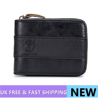 New Genuine Leather Mens Wallet ZIPPER Coin Purse Vintage Retro Style Holder US