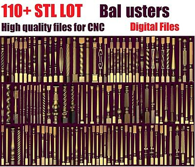 Balusters 110 + LOT 3D Model STL relief for cnc STL format LOT stairs carving