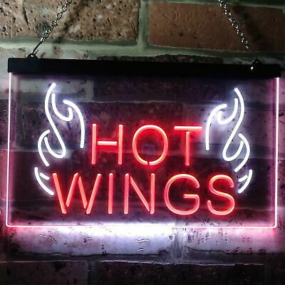 Hot Wings Fast Food Shop Open Bar Dual Color Led Neon Sign st6-i3154