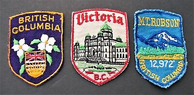 Vintage Travel Patches  3 Canada British Columbia Victoria Mt. Robson Province
