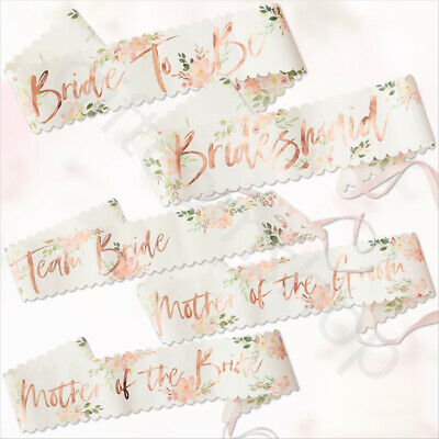 Team Bride To Be Hen Party Rose Gold Pink Floral Sash Hen Party Night Sashes