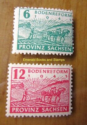 EBS Germany 1945 Soviet Zone SBZ Saxony Land Reform PERF Michel 85A-86A MNH** (g