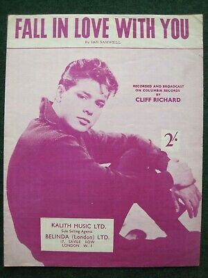 """""""fall In Love With You""""     Cliff Richard.    Sheet Music."""