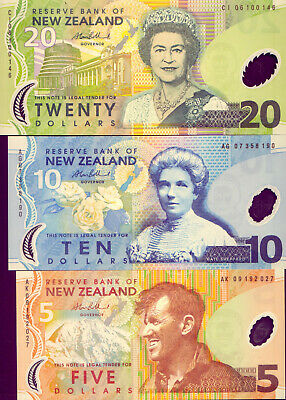 New Zealand: 3 Lovely Bank-Notes : All Crisp &  Unc   No Reserve