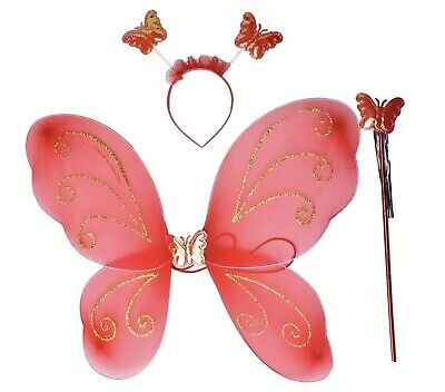 Kids Girls Fairy Wing, Party Costume Accessories, Fairy Costumes for Kids Red