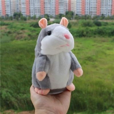 Funny Talking Hamster Electronic Plush Toy Mouse Pet Sound Holiday Gifts Grey