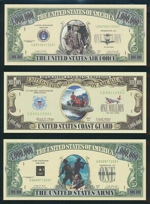 "USA: 2001-04 $1 Million ""US ARMY"" + 5 other Armed Forces ""Funny Money"" Fantasies"