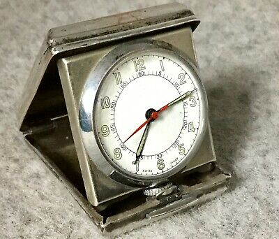 Vintage Minature Travelling Clock Small Pocket Watch In Folding Case
