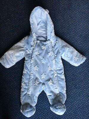 7aec9c0db58c BABY BOY SNOWSUIT Sleepsuit 0-3 Months BHS Blue Soft Fleece Material ...