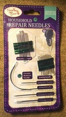 Household Repair Sewing Needles Pack Upholstery Carpet Leather Curved New Sealed