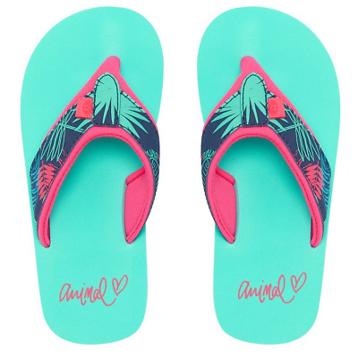 Girls Animal 'Swish Upper Aop' Flip Flops. Turquoise Green