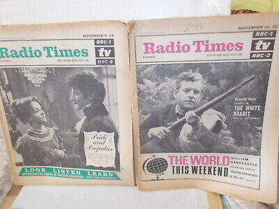2 X Radio Times South & West Editi0N Sept. 9-15 & Sept. 16-22 1967 , See Descrip
