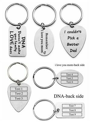 Personalised Engraved Stainless Steel Dog Tag Oval Square Key Ring Family Gift