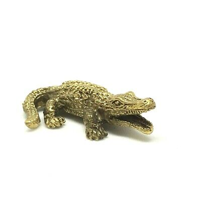 Brass Crocodile Dollhouse Miniature Figurine Metalwork Statue Animal Art Collect