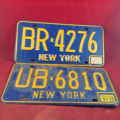 Vintage Lot of 2 NEW YORK License Plate UB 6810 - BR4276  Pre owned 1970's