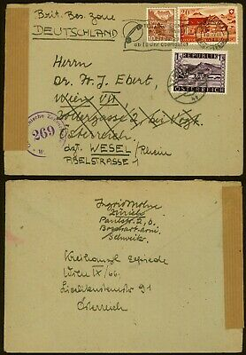 Switzerland 1946 - Cover to Austria and Resent to Germany - Censor AIX3553