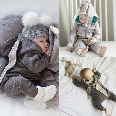 Newborn Infant Baby Boys Girl Hooded Romper Jumpsuit Outfits Babygrows Playsuits